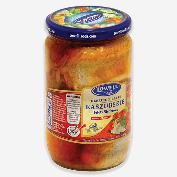 """Herring Fillet - Polish Style """"Kaszubkie"""" with Tomato and Onion in Glass Jar (Lowell), 650Gr (22.92oz) 1cs x 6ea"""