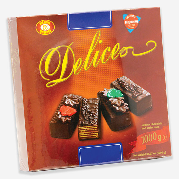 """Delis"" Chocolate Wafer Cake (Harkiv), 1kg (2.20Lbs) 1cs x 3ea"